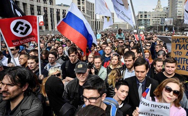 Protest la Moscova împotriva eforturilor Kremlinului de a bloca aplicaţia Telegram, 30 aprilie 2018.