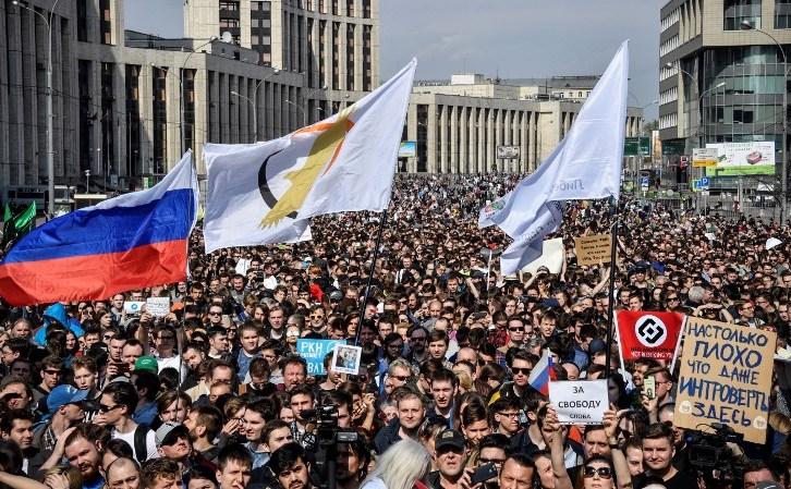 Protest împotriva blocării aplicaţiei Telegram, Moscova, 30 aprilie 2018. Un protest similar a avut loc în capitala rusă şi St. Petersburg în 1 mai 2018.