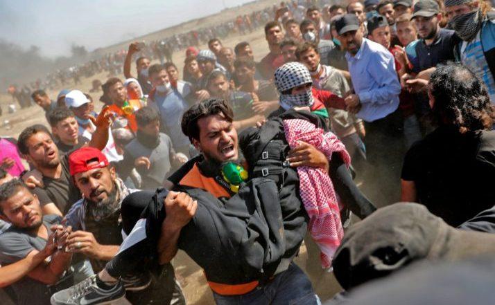 Ciocniri violente la graniţa dintre Fâşia Gaza şi Israel, 14 mai 2018.