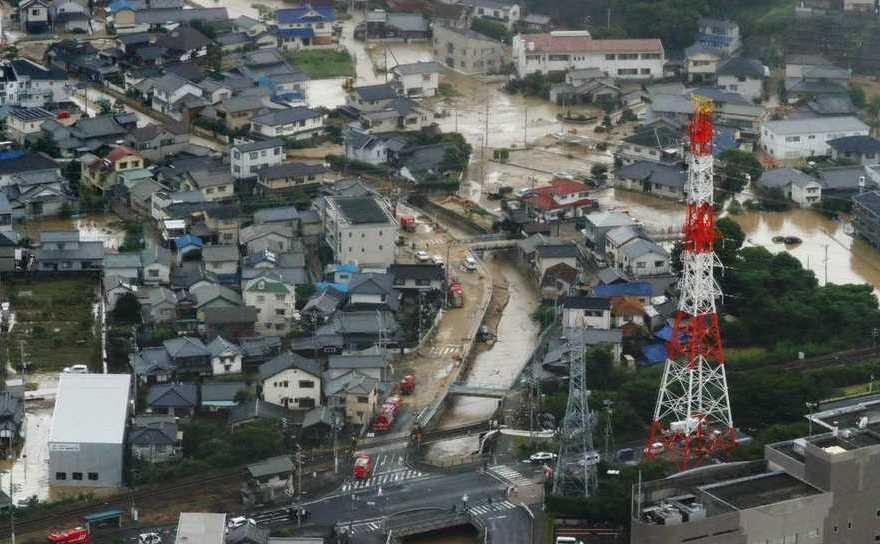 Inundaţii în localitatea Saka, prefectura Hiroshima, Japonia, 7 iulie 2018.