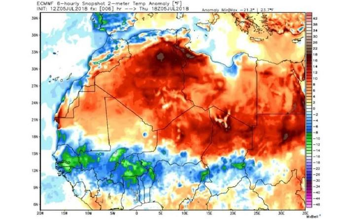Zonele din Africa de Nord (în roşu) afectate de valul de căldură din prima săptămână a lunii iulie 2018