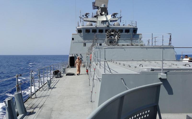 Poză făcută la bordul fregatei ruseşti Amiral Essen în largul coastei siriene, în Marea Mediterană