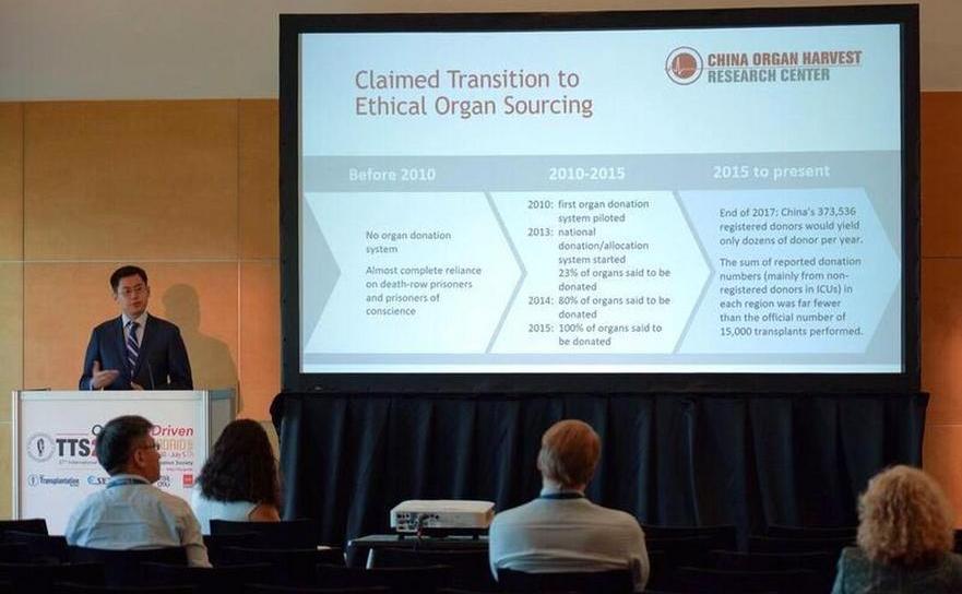 David Li, co-autor al noului raport, prezintă concluziile echipei sale la Congresul Internaţional al Societăţii de Transplant pe 2 iulie, 2018