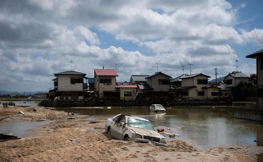 Zona lovită de inundaţii în Mabi, prefectura japoneză Okayama, 10 iulie 2018.