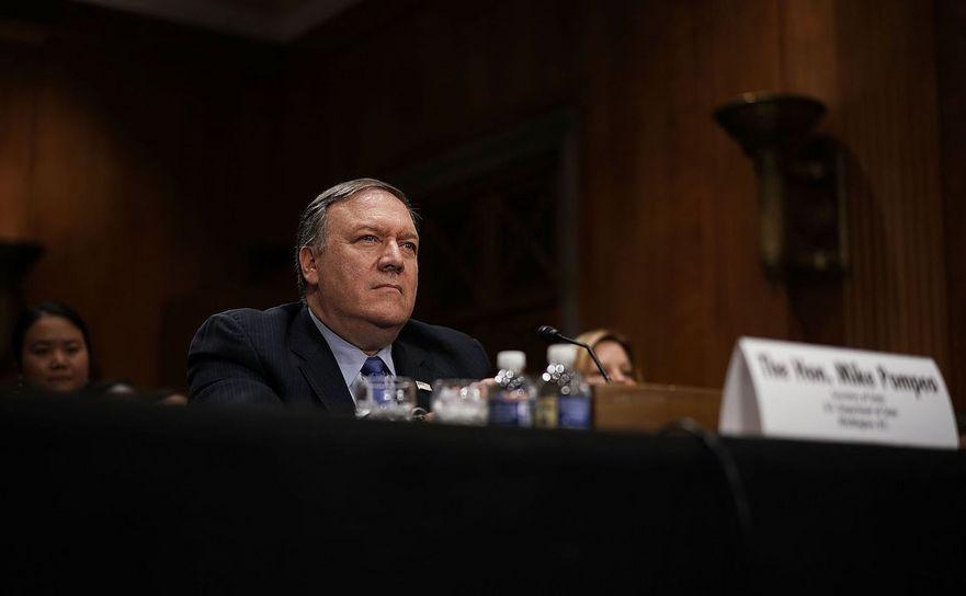 Secretarul de stat american Mike Pompeo în timpul unei audieri în Comisia pentru Relaţii Externe din cadrul Senatului SUA, în Capitol Hill, Washington, D.C., 25 iulie 2018.