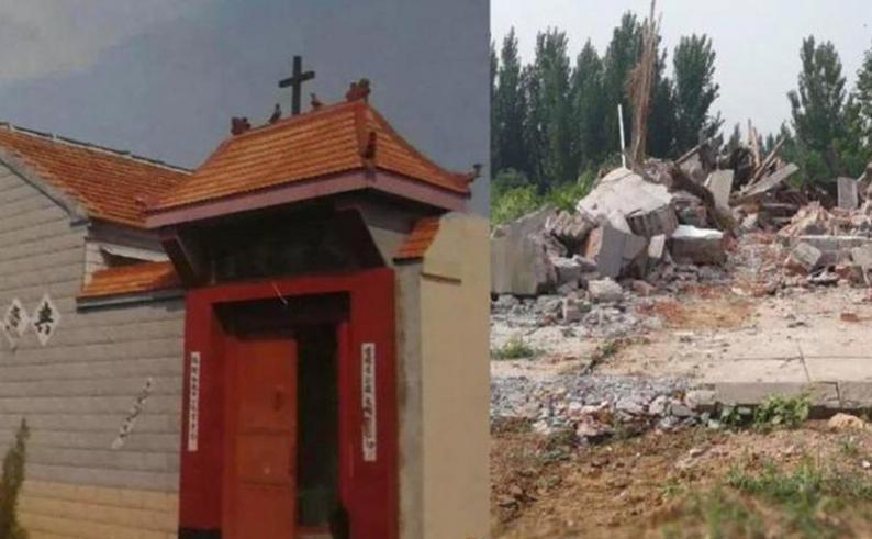 Biserica catolică Liangwang, din provincia chineză Jinan, înainte şi după distrugerea ei
