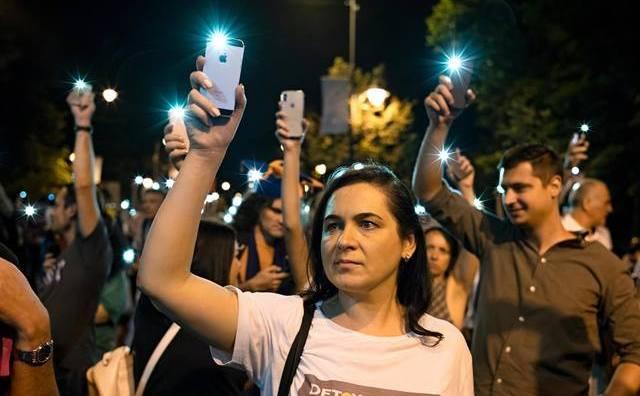Protestul din 10 augut. În imagine, Gabriela Mirescu