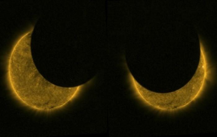 Eclipsă solară văzută din spaţiu