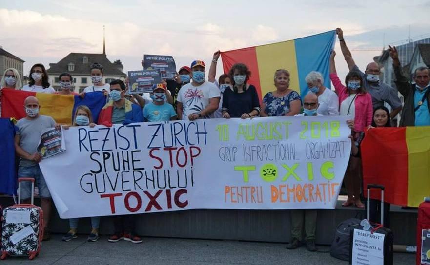 Protest al românilor din Elveţia