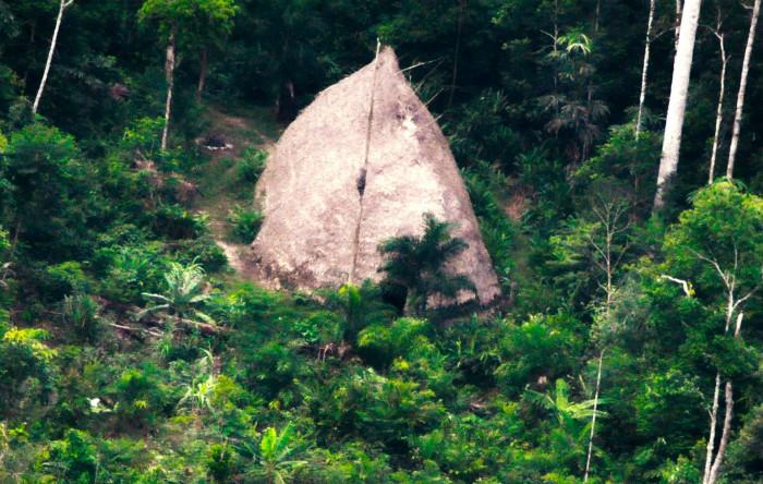 O  vedere aeriană a unei colibe din Ţinuturile Indigene (TI) Vale do Javari, Brazilia