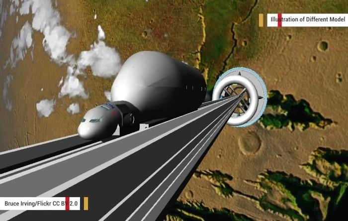 Liftul spaţial imaginat de Obayashi Corporation, diferit de prototipul care va fi testat