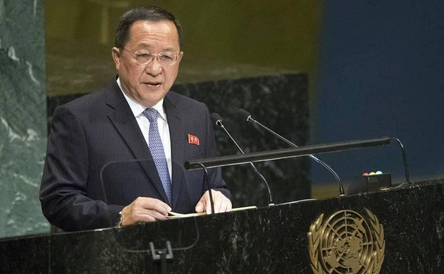 Ministrul nord-coreean de Externe, Ri Yong-Ho, susţine un discurs în cadrul Adunării Generale a ONU, în New York, 29 septembrie 2018