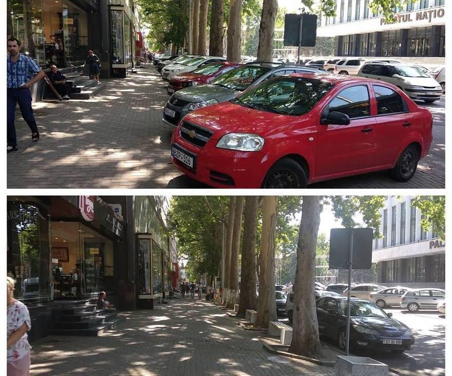 Aceeaşi stradă, cu şi fără maşini