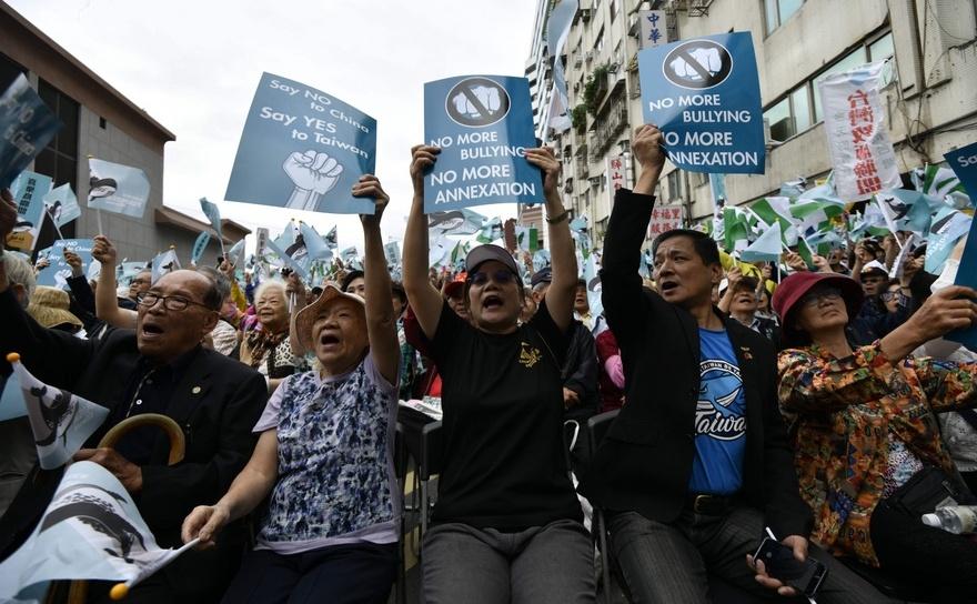 Protest în faţa sediului partidului de guvernământ din Taipei,  Taiwan, 20 octombrie 2018
