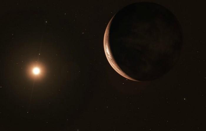 Ilustraţie a exoplanetei şi a stelei lui Barnard