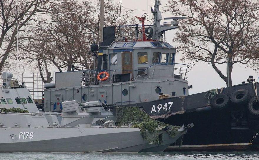 Două dintre cele trei nave ucrainene confiscate de Rusia în apropierea strâmtorii Kerci în 25 noiembrie 2018