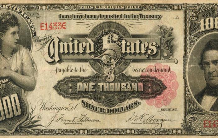 Aversul Certificatului de Argint de 1.000 de dolari din anul 1891