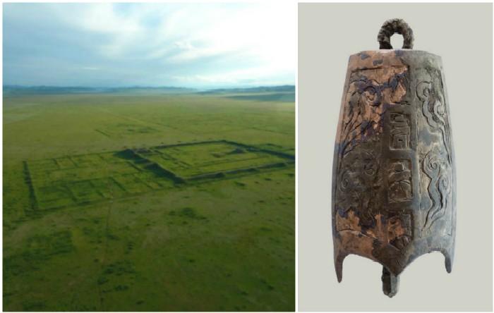 Clopot din bronz descoperit în palatul cetate Karabalgasun din valea Orchontal, Mongolia