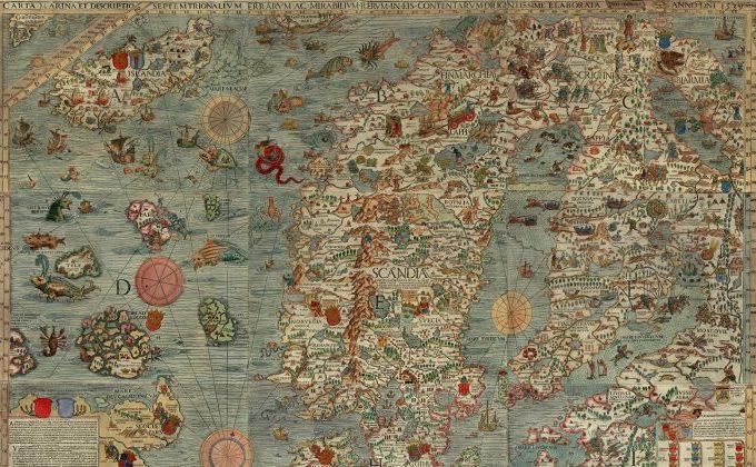 Miturile au oferit întotdeauna o modalitate de a cartografia necunoscutul. Un detaliu al Lenox Globe, cel de-al doilea sau al treilea cel mai antic mapamond lume, despre care se credea că a fost făcut în 1510.