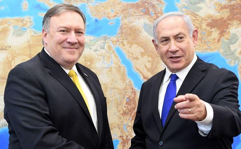 Secretarul de stat american Mike Pompeo (st) şi premierul israelian Benjamin Netanyahu