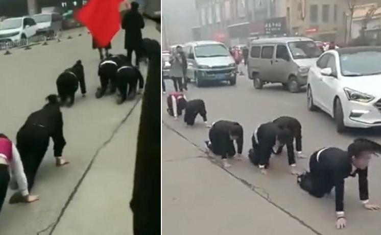 Angajaţii companiei din Shandong, China, în timpul pedepsirii lor publice