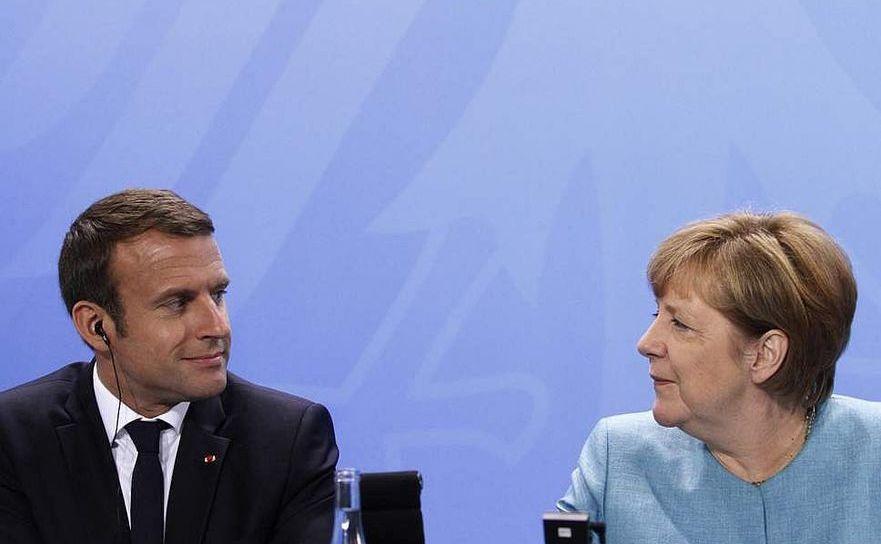 Preşedintele francez Emmanuel Macron şi cancelarul german Angela Merkel
