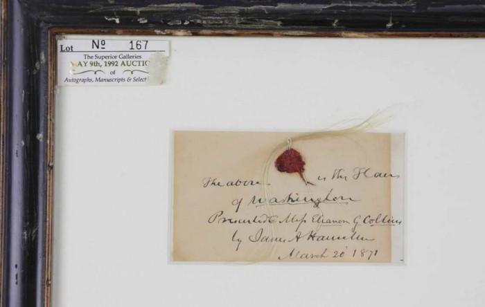 Şuviţă de păr a părintelui fondator George Washington