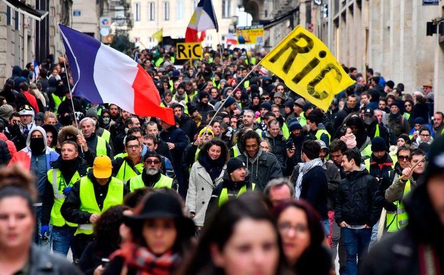 Protest al vestelor galbene în Bordeaux, Franţa, 2 februarie 2019