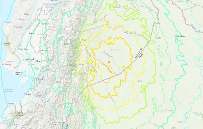 Epicentrul cutremurului de 7,5 grade pe Scara Richter din Ecuador, 22 februarie 2019