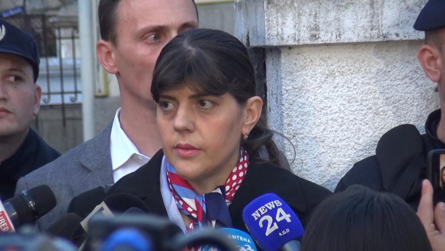 Laura Codruţa Koveşi la ieşirea de la audierea de către SIIJ, 7 martie 2019