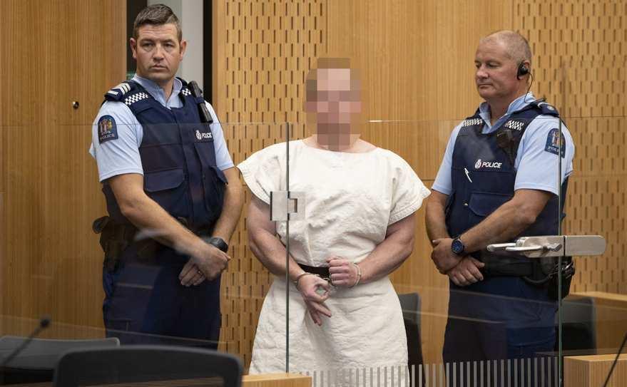 Brenton Tarrant în tribunalul districtual din Christchurch, Noua Zeelandă, 16 martie 2019