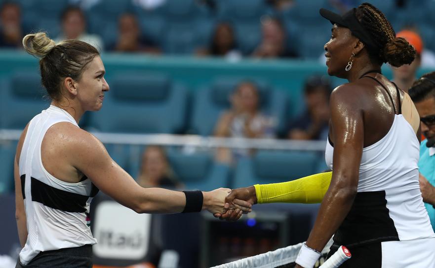 Simona Halep şi Venus Williams la Miami Open.