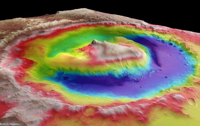 Craterul Gale situat pe planeta Marte