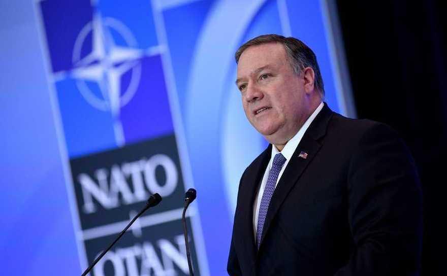 Secretarul de stat american Mike Pompeo ia cuvântul la o întâlnire a miniştrilor de externe ai NATO în Washington, 4 aprilie 2019