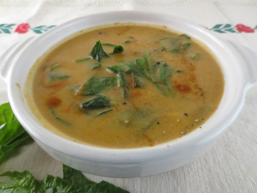 Supă de vinete coapte cu spanac