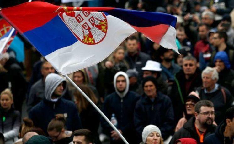 Protest împotriva preşedintelui Aleksandar Vucic în Belgrad, Serbia, 13 aprilie 2019