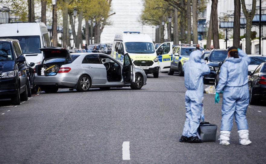 Scena incidentului ciocnirii automobilului ambasadorului ucrainean, Londra, 13 aprilie 2019