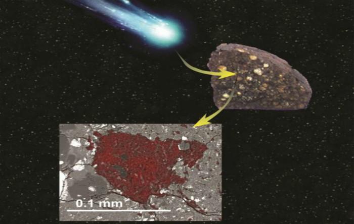 Un meteorit conservă un mic fragment de cometă