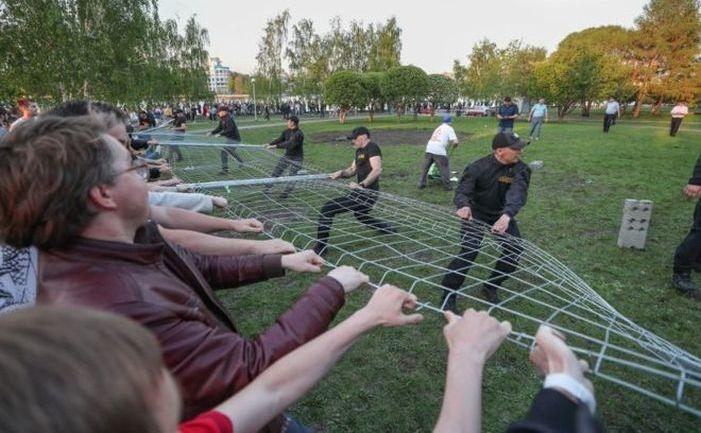 Protest împotriva construirii unei biserici în Ekaterinburg, Rusia, 15 mai 2019