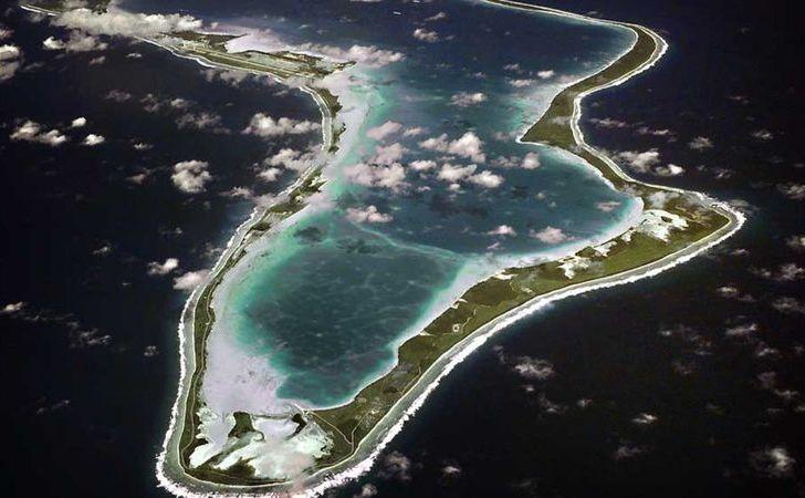 O imagine aeriană cu insula Diego Garcia din Arhipelagul Chagos