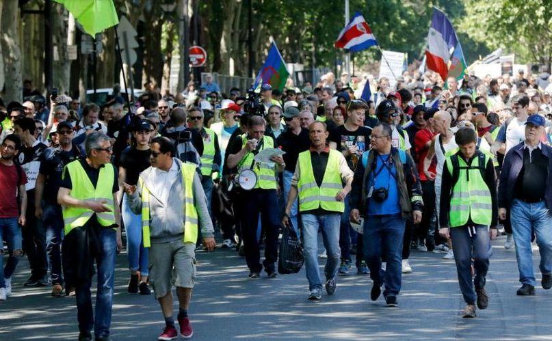 Protest al vestelor galbene în centrul Parisului, 1 iunie 2019