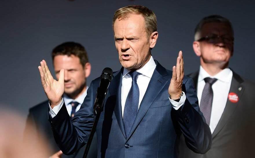 Donald Tusk susţine un discurs în Gdansk, Polonia, în 4 iunie 2019