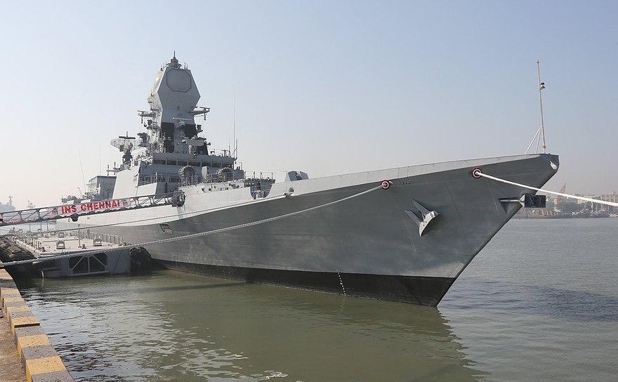 Distrugătorul stealth cu rachete ghidate INS Chennai al Marinei indiene