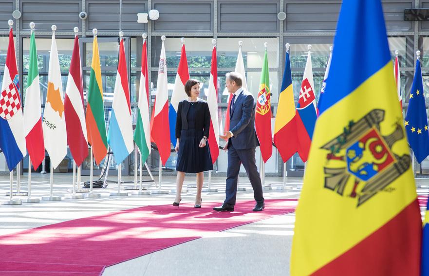 Maia Sandu şi Donald Tusk, la Bruxelles