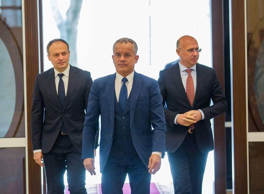 Andrian Candu, Vlad Plahotniuc şi Pavel Filip, lideri PDM