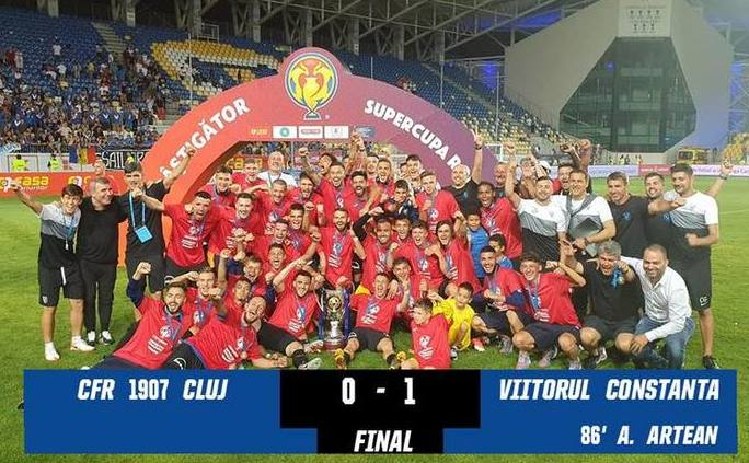 FC Viitorul a câştigat în premieră Supercupa României, după 1-0 cu CFR Cluj.