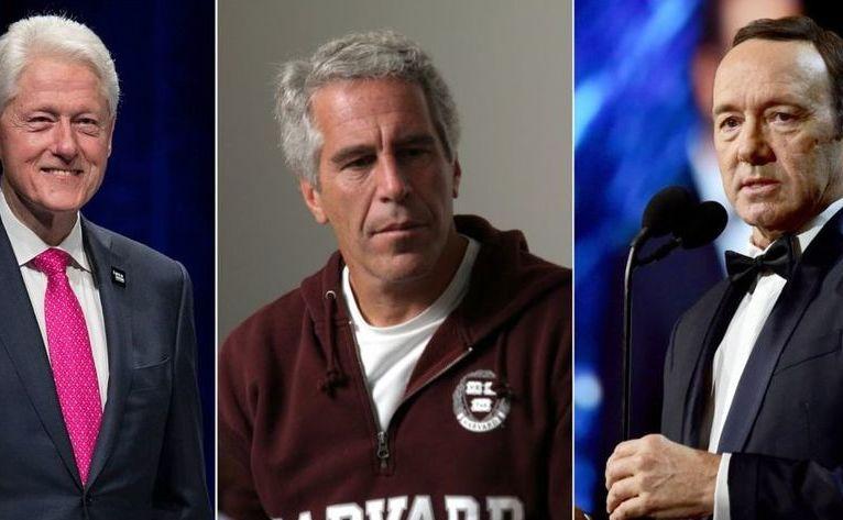 (De la st la dr) Fostul preşedinte american Bill Clinton, agresorul sexual Jeffrey Epstein şi actorul american Kevin Spacey