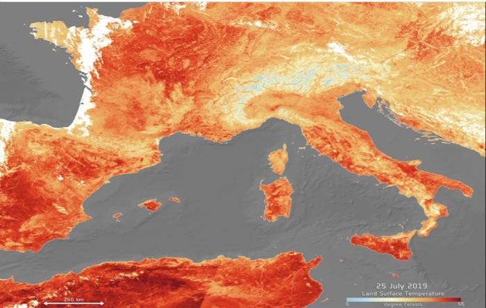 Temperaturile din Europa în luna iulie 2019