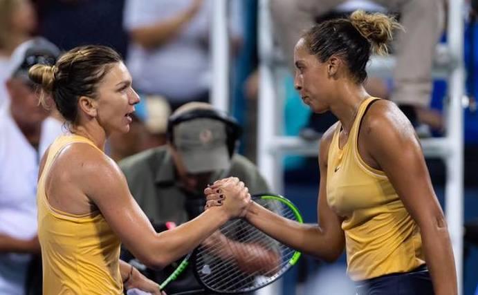 Simona Halep şi Madison Keys la turneul WTA de la Cincinnati 2019.