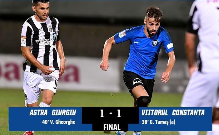 Astra Giurgiu - FC Viitorul 1-1, în ultimul meci din etapa a 6-a a Ligii I de fotbal.